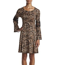 Studio Works® Petites' Animal Print Lace Trim Dress