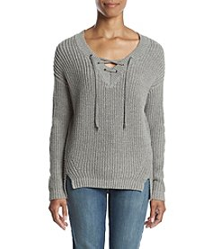 Ruff Hewn Petites' Lace Up V-neck Sweater