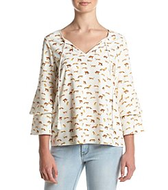 Kensie® Big Cat Print Bell Sleeve Top