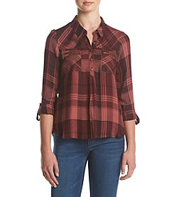 Sequin Hearts® Plaid Utility Button Down