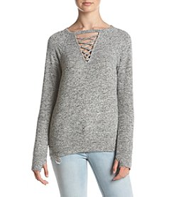 no comment Lace Up Pullover