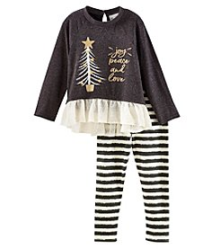 Rare Editions Girls 4-6X Long Sleeve Joy Love Top With Striped Leggings