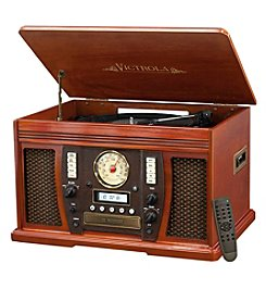 Victrola™ Wood 7-in-1 Nostalgic Bluetooth® Record Player with CD Encoding and 3-Speed Turntable