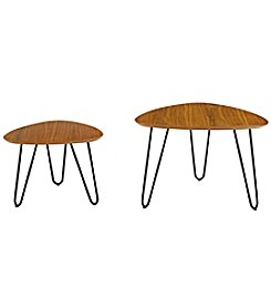 W. Designs Hairpin Leg Wood Nesting Coffee Table Set