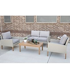 W. Designs 4-Piece Eucalyptus and Rattan Deep Seating Chat Set