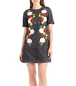 Nicole Miller New York Floral Embroidery Denim A-Line Dress