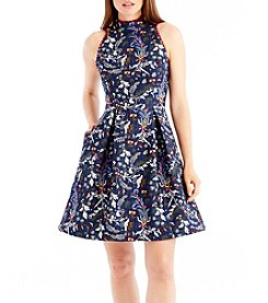 Nicole Miller New York High Neck Jacquard Dress