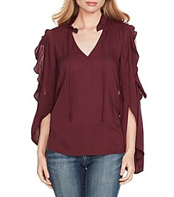 Jessica Simpson Cold Shoulder Ruffle Sleeve Peasant Top