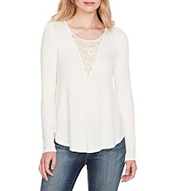 Jessica Simpson Ursula Lace-Up Peasant Top