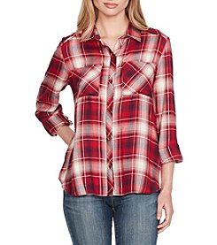 Jessica Simpson High Low Hem Plaid Top