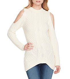 Jessica Simpson Posy Cold Shoulder Cable Sweater Top