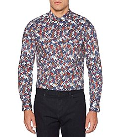 Perry Ellis® Long Sleeve Print Pixel Texture Shirt