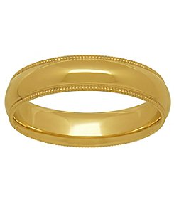 10K Yellow Gold Polished 5MM Comfort Fit Milgrain Wedding Band