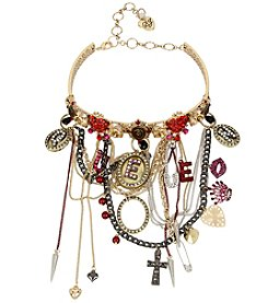 Betsey Johnson® Tri-Tone Multi-Row Charm Choker