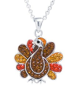 Athra Silver-Plated Crystal Turkey Pendant Necklace