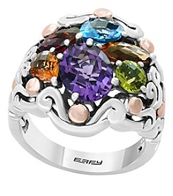 Effy® 925 Collection Sterling Silver 18K Rose Gold Multi Gemstone Ring