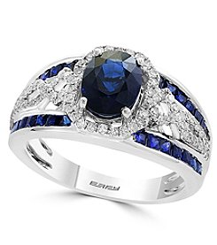 Effy® Royale Bleu Collection Sapphire And 0.31 Ct. T.W. Diamond Ring
