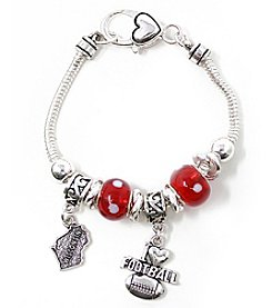 L&J Accessories NCAA® Wisconsin Badgers Football Charm Bracelet