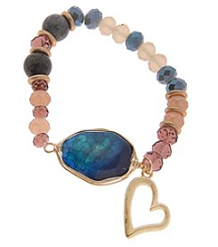 L&J Accessories Blue Stone & Heart Charm Stretch Bracelet