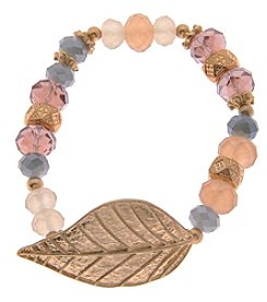 L&J Accessories Gold Leaf Glass Stretch Bracelet