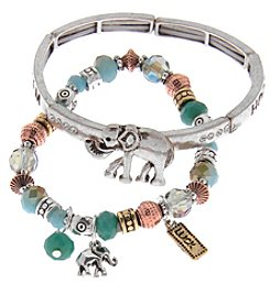 L&J Accessories Duo Stretch Elephant Charm Bracelet