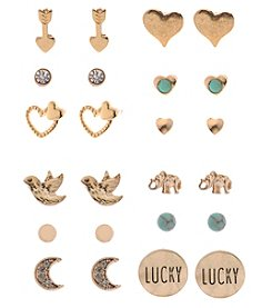 L&J Accessories 12 Pair of Goldtone Inspirational Stud Earrings