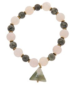 L&J Accessories Genuine Stone Triangle Charm Stretch Bracelet