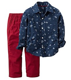 Carter's Boys' 2T-4T 2 Piece Button-Front Top and Canvas Pants Set