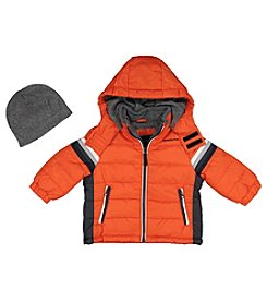 London Fog® Boys' 2T-7 Stripe Puffer Jacket And Hat