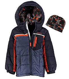 London Fog® Boys' 4-7 Colorblock Puffer Jacket And Hat Set