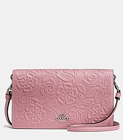 COACH FOLDOVER CROSSBODY WITH TEA ROSE TOOLING
