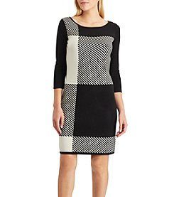 Chaps Striped Patchwork Sweater Dress