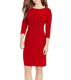 Chaps Red Ruched Sheath Dress