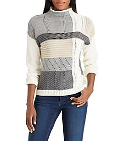 Chaps Patchwork Design Mock Neck Sweater