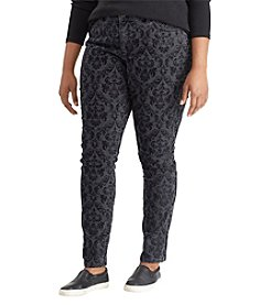 Chaps Plus Size Patterned Skinny Pants