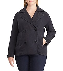 Chaps Plus Size Notch Collar Button Coat