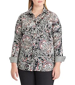 Chaps Plus Size Paisley Print Button Up Top