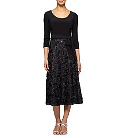 Alex Evenings Black Tea Length Part Rose Skirt