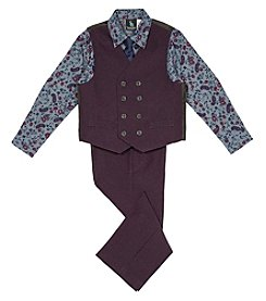Steve Harvey Boys' 4-7 4 Piece Poplin Vest Set