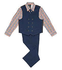 Steve Harvey Boys 4-7 4 Piece Poplin Vest Set