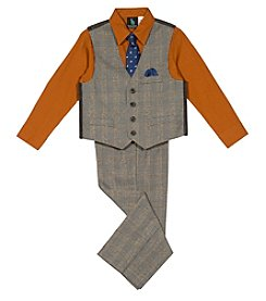 Steve Harvey Boys 4-7 4 Piece Plaid Vest Set
