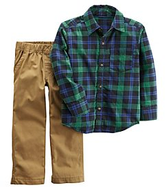 Carter's Boys' 2T-4T 2 Piece Long Sleeve Plaid Top And Pants Set