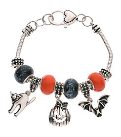 L&J Accessories Silvertone with Glass Bead Charm Bracelet