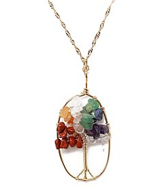 L&J Accessories Goldtone Multicolor Chip Tree Oval Necklace