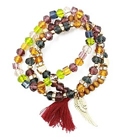 L&J Accessories Triple Row Multicolor Glass Feather Charm Bracelet