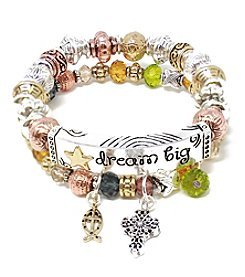 L&J Accessories Tri-Tone Double Row Multicolor Glass Dream Big Bracelet