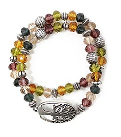 L&J Accessories Silvertone Double Row Multicolor Glass Tree Charm Bracelet