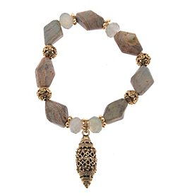 L&J Accessories Goldtone Natural Grey Stone Textured Glass Bracelet