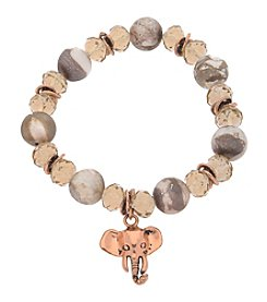 L&J Accessories Bronze Genuine Stone Glass Elephant Charm Bracelet