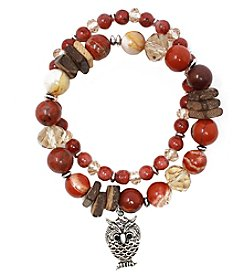L&J Accessories Silvertone Double Row Wood Agate Glass Owl Charm Bracelet